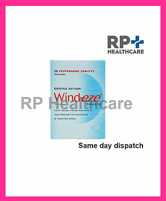 1 x Wind-Eze Peppermint Chewable Tablets Trapped Wind & Bloating (30) GSL