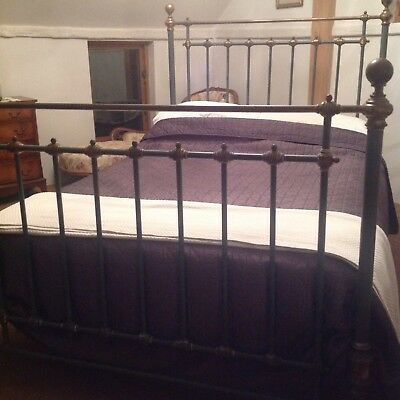 Lovely original Victorian heavy Cast Iron double bed + Solid sprung base