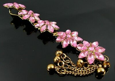 Indian Bollywood Style Gold & Pink Rhinestone Tikka Head / Hair Piece (21H)