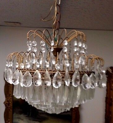 """Vintage Beautiful Chandelier 192 Glass Crystals 3 Bulb 12 H X 15"""" W Chain Mount"""