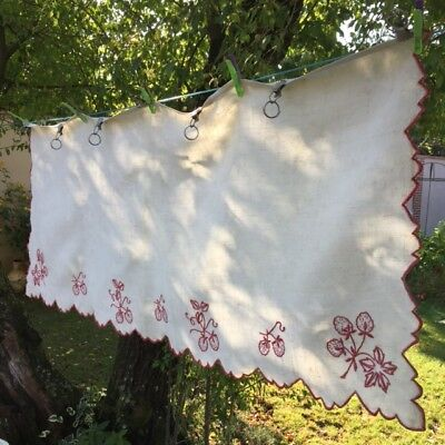 Superb Antique FRENCH LINEN VALANCE PEDIMENT Hd-Embroidered Strawberries w Clips