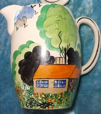 1930's Art Deco Hand Painted Coffee Pot / Dean & Sons (Clarice Cliff Inspired)