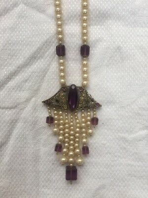 Stunning Vintage Antique 1920s Art Deco Pearl And Amethyst Necklace