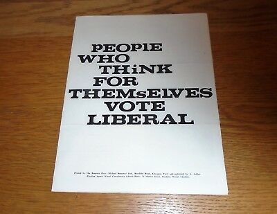 Original 1960's Liberal Party Candidate Campaign Leaflet Literature. Wirral