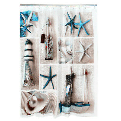 FP Polyester blue sea life seashell waterproof shower curtain thicken shower cur