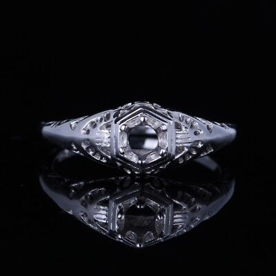 Lady 10K White Gold Fine Jewelry Vintage Antique Party Semi Mount Ring 4mm Round