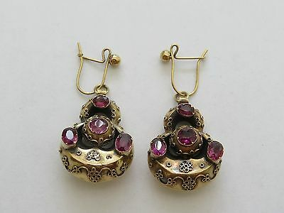Victorian 9Ct Gold And Garnet Earrings 1860