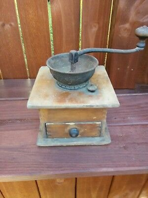 VTG Wood and Iron Hand Crank Coffee Grinder - Works! Adjustable! Great Xmas gift