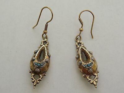 Victorian 9Ct Gold And Turquoise Earrings