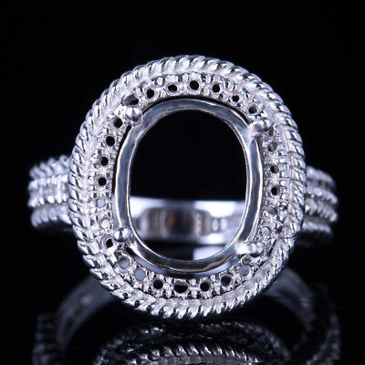 11X9mm Oval Engagement Wedding Solitaire Semi Mount Setting Ring 10K White Gold