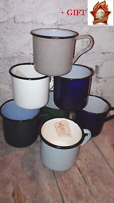 LOT x 5pcs VINTAGE USSR SOVIET RUSSIAN ARMY ENAMEL MUG CUP(Different color)+GIFT
