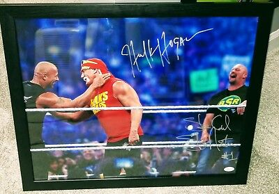 Hulk Hogan  Steve Austin Autographed 16X20 Photo Jsa Coa Rock Stone Cold