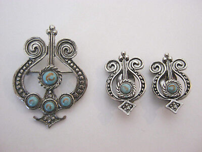 Lyre musical vintage pewter brooch, matching clip on earrings, turquoise stones