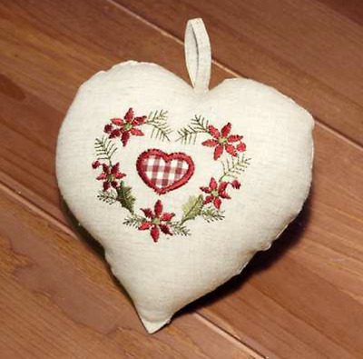 """Embroidered Heart Cusion 6 x 6"""" 7314-514"""