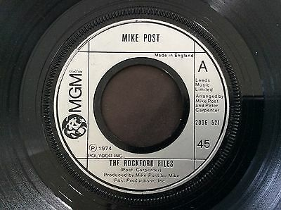 """The Rockford Files MIKE POST 7"""" Vinyl 1974 MGM Records 2006521 Bw Dixie Lullabye"""