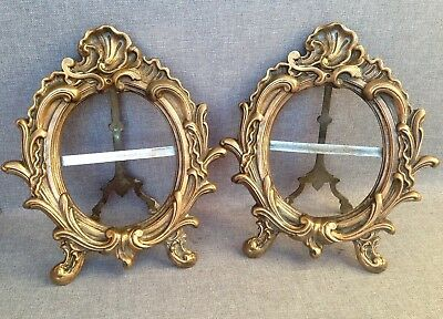 Pair of antique french picture frames made of bronze early 1900's Louis XV style