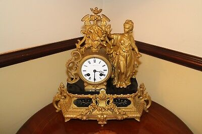 Antique French 19thc gilt 8day mantle clock Knight & sons Northampton & Paris
