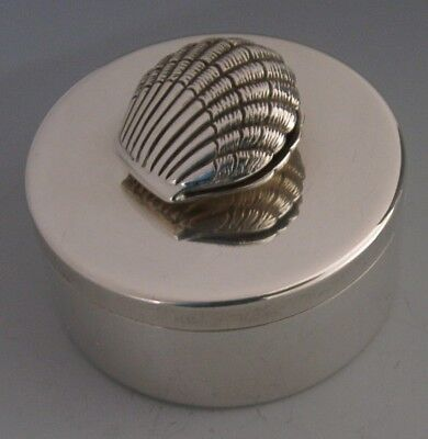 Beautiful Modernist English Sterling Silver Clam Dressing Table Trinket Box 1997