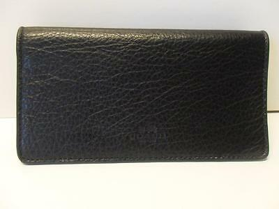 New Coach Pebbled Leather Checkbook Cover with Embossed Logo Black
