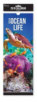 2018 Ocean Life  SLIM CALENDAR WALL HANGING MONTH TO VIEW