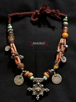 Old Berber Necklace – Boghdad - Silver, Amber, Coral - South Morocco