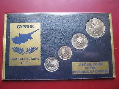 Cyprus 1982 UNC 4 coin set  5 25 50 100 Mils Last Mil coinage of the Republic #2