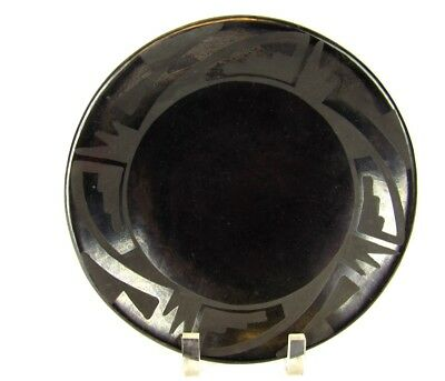 San Ildefonso Pottery Maria Martinez Santana Black On Black Plate Edge Design
