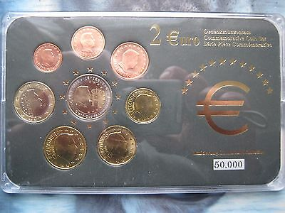 Luxembourg 2000-s 8 UNC Coin Set collection 1 Cent - 2 Euro cased COA card