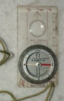 Silva Type 5 vintage compass with lanyard. Made in Sweden