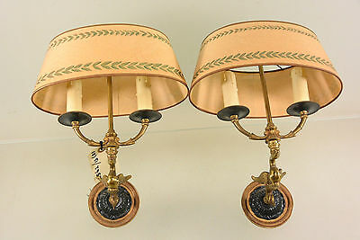 Antique PAIR French Empire Swan Bouillotte Sconces wall lights 1920 rare