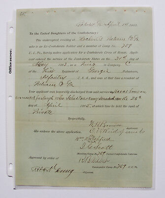 Application for the Southern Cross of Honor - Company C 1st Georgia Infantry