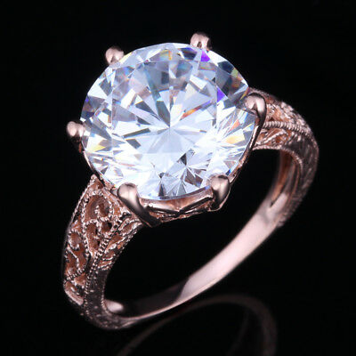Solid 14K Rose Gold Round Cut 12mm Engagement Anniversary Cubic Zirconia Ring