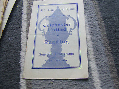 Colchester United V Reading 1948-9 Fa Cup 1St Round Abandoned +Record Crowd