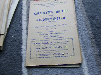 Colchester United V Kidderminster Harriers 1948-9 X 2 Issues See Details