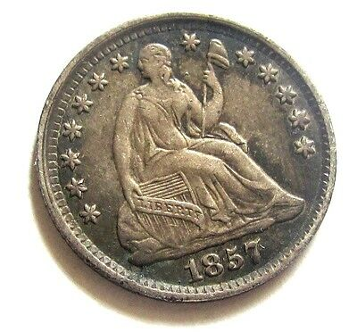 1857 Seated Liberty Half Dime, Looks Uncirculated