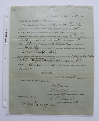Application for the Southern Cross of Honor - 57th North Carolina - POW