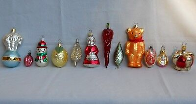 Vintage Lot of 12 German Glass Figural Christmas Ornaments - Chili Pepper, Bears
