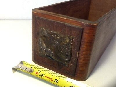 Vintage Antique Ornate Carved Wooden Sewing Drawer With Metal Pull