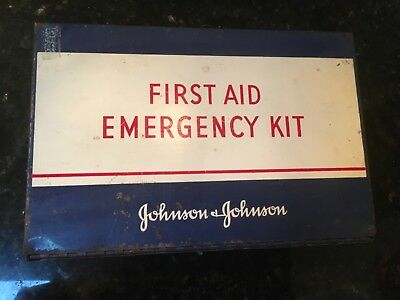 Vintage JOHNSON & JOHNSON EMERGENCY FIRST AID KIT w Contents Red Cross Bandages