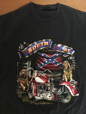 Vintage 80's T Shirt THE SOUTH IS WHERE ITS AT Harley Motorcycle Trucker Soft