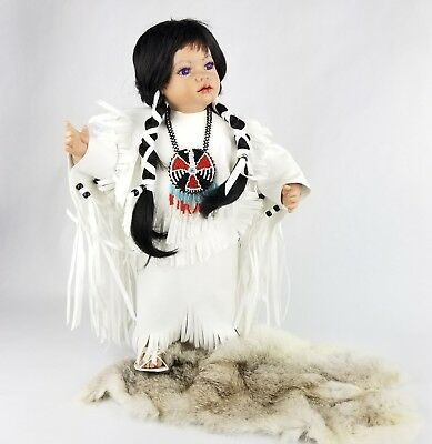 Signed Kofa Fawn Native American Indian Porcelain Wedding Doll all in White
