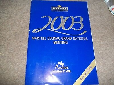 2003 Martell Grand National Meeting Programme Racecard Ticket 5Th April Aintree