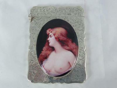 HM Silver Enamel Calling Card Case - Naked Woman with Servant