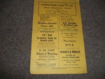 Rare Vintage Castleford V Keighley 13Th October 1956 - Over 60 Years Old!!