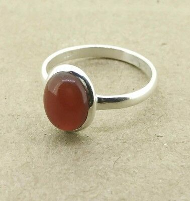 925 Solid Sterling Silver Ring With Natural Carnelian Gemstone Us Size 8.0 Sh575