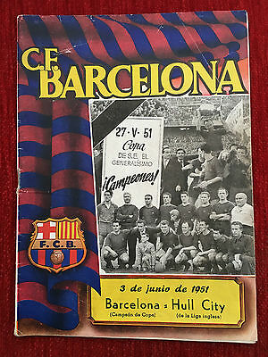 Programme Official Barcelona Spain Hull City England 1951 Friendly