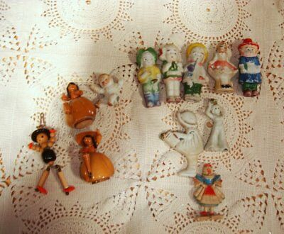 1 Doz. Bisque, Wood, Beaded, HP Vtg. Collectible Dolls-Germany, Japan +Must See!