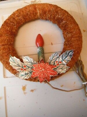 """Vintage 11"""" Chenille Christmas Wreath  Electric C9 Candle"""