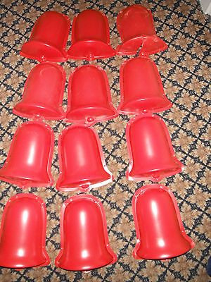"""12 Vintage Plastic 10"""" Red Christmas Bell Decorations"""