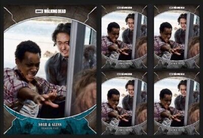 NOAH & GLENN RHEE-TRAGEDIES-BLUE +4x GRAY-TOPPS WALKING DEAD CARD TRADER DIGITAL